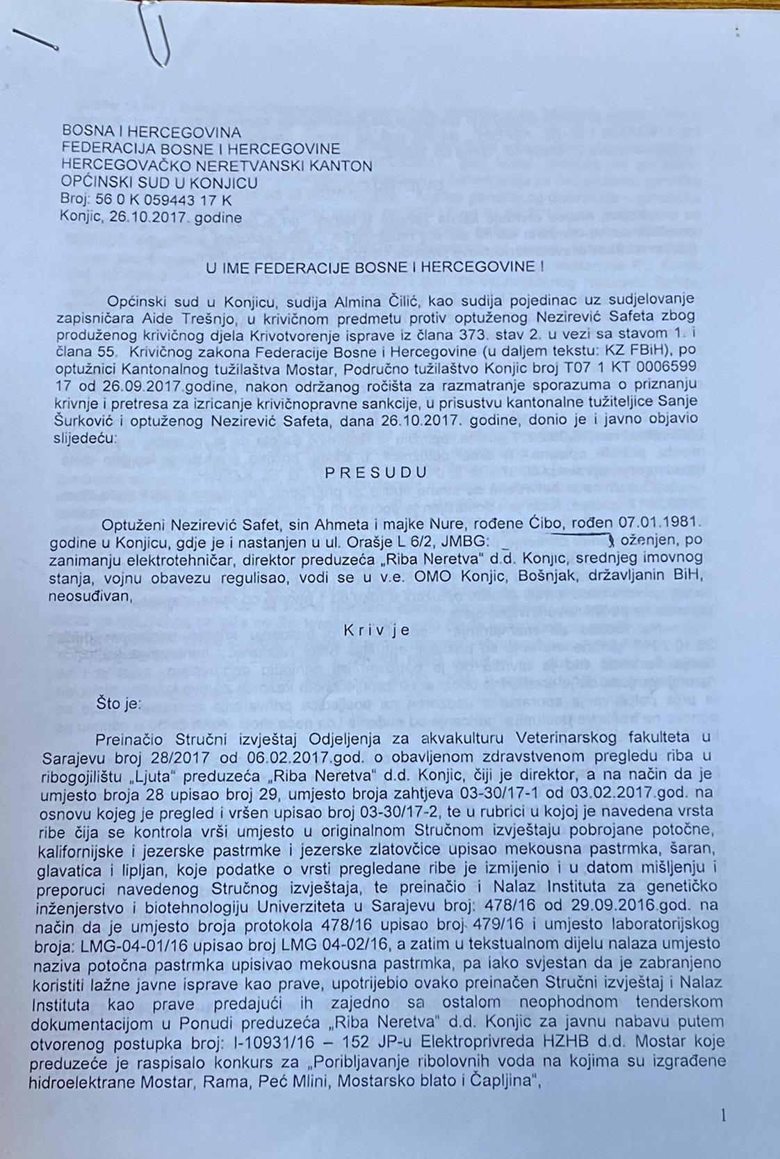 Prvostepena presuda protiv Safeta Nezirevića iz 2017. godine