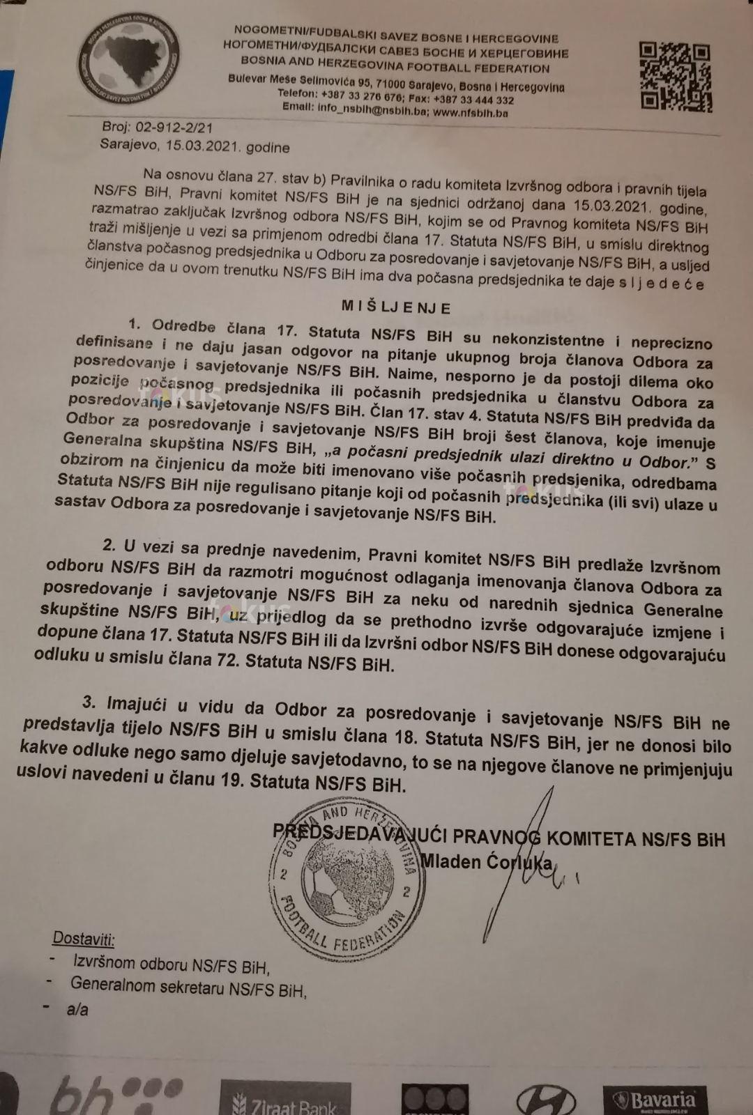 Faksimil odluke Pravnog komiteta NSBiH (FOTO: Fokus.ba)