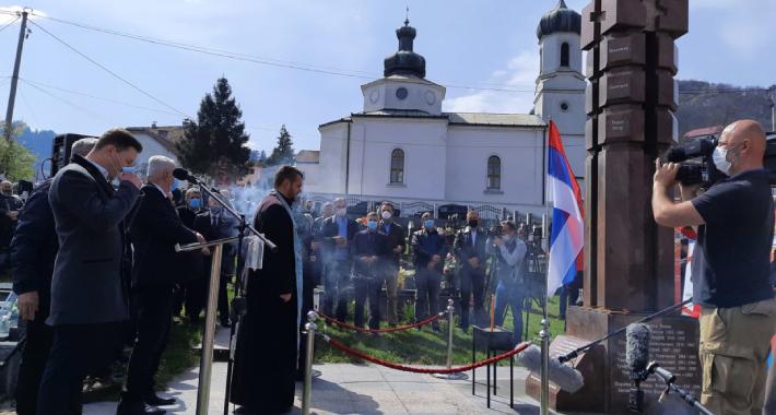 Služenje parastosa kod Spomenika poginulim ruskim dobrovoljcima. Foto: BIRN BiH